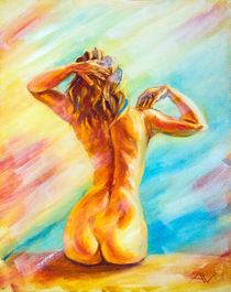 Beautiful naked woman sitting by valenty