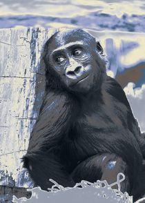 Smiling Gorilla Baby, blue by mehrfarbeimleben
