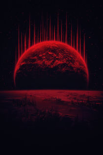 Lost Home! Colosal Future Sci-Fi Deep Space Scene in diabolic Red by badbugsart