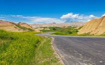 Drive Through The Yellow Mounds Of The Badlands by John Bailey