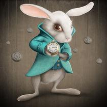 White rabbit with clock von Giordano Aita