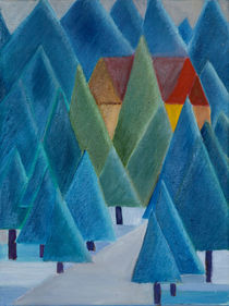 Haus im Winterwald by Doro T