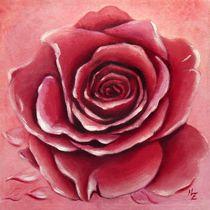 Rote Rosenblüte  - Blumenmalerei handgemalt von Marita Zacharias