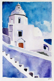 Santorini Island - drawing I by Iva Ivanova