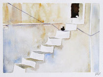 Santorini Island - drawing X by Iva Ivanova