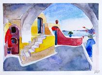 Santorini Island - drawing IV by Iva Ivanova