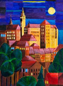 Schloss über nächtlicher Stadt by Doro T