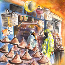 Pottery Seller in Essaouira von Miki de Goodaboom