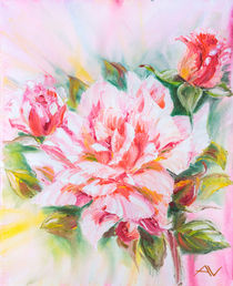 Beautiful rose, oil painting on canvas by valenty