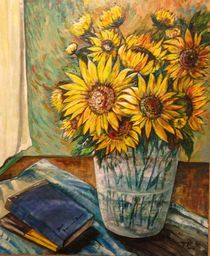 Sunflowers and books by Myungja Anna Koh
