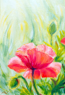 Poppies, oil painting on canvas by valenty