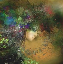 Woman l in a crown of flowers and herbs