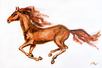 Horse in motion, watercolor painting von valenty