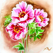 Painted watercolor card with peony flowers by valenty