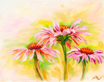 Echinacea, oil painting by valenty