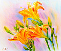 Yellow lily flowers and buds. Oil painting. by valenty