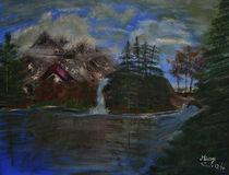Landschaft mit Haus am See von Monika Missy