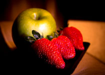 Green apple and strawberries by Gema Ibarra