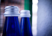 Blue Glass Bottles by Gema Ibarra