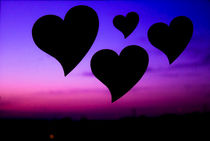 Black Hearts on blue sky and purple by Gema Ibarra