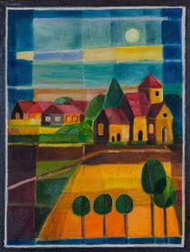 Vollmondnacht über Dorf, abstrakt von Doro T