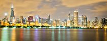 Chicago Night Skyline by Lev Kaytsner
