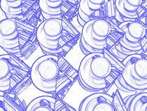 blaue Tassen mit Servietten von Martin Müller