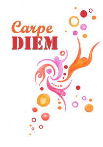 Carpe diem drawing , motivational print  von Lila  Benharush