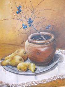 Stillleben mit Tongefäß und Birnen von Dorothy Maurus