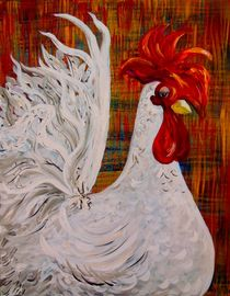 I Know I am Lovely - White Rooster von eloiseart