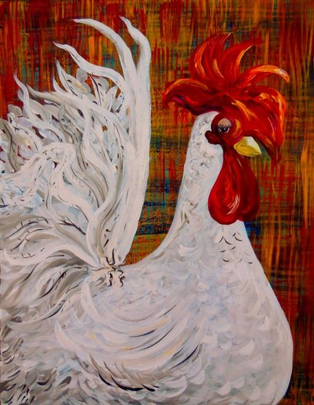 White-rooster-painting