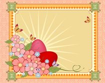 Beautiful Easter background with flowers and place for text by larisa-koshkina