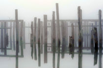 Wood pilings in fog von Jim Corwin