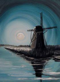 Mühle bei Mondschein von Barbara Kaiser