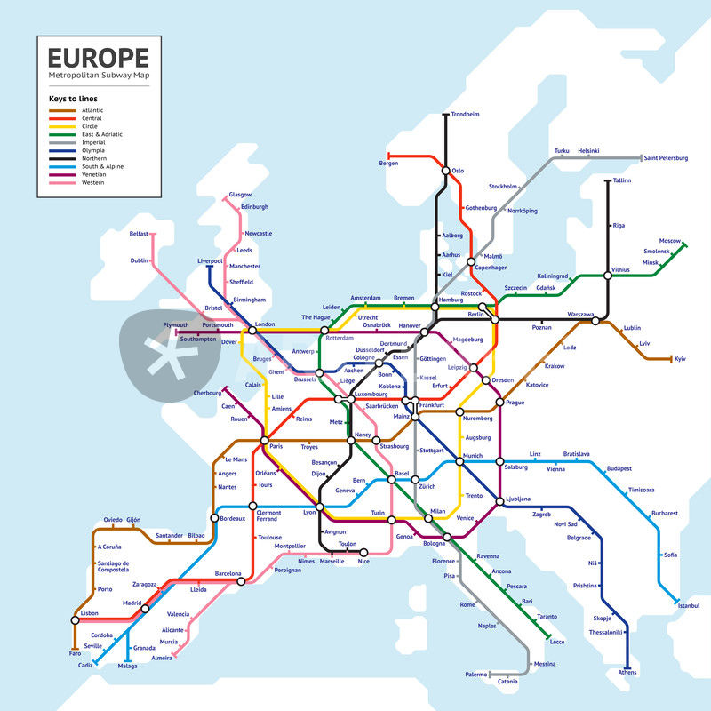 Europe metropolitan subway map graphicillustration art prints and europe tube map gumiabroncs Images