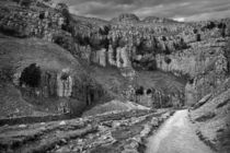 The Approach to Malham Cove in Black and White von Colin Metcalf
