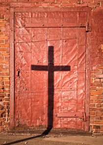 Sign on a Red Iron Door by Chris Bordeleau