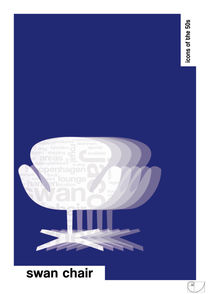 Swan Chair / Design Icons of the 50s / Classic Pantone Poster von patricon