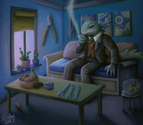 Mr. Lizard at home by sushy