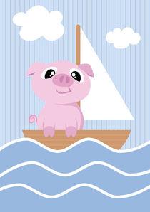 Mobil Serie Schwein Segelboot von Michaela Heimlich