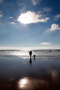 Sunburst over a winter beach von Steve Ball