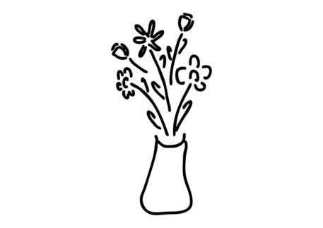 Blumenstrauss In Vase Mit Rosen Tulpen Grafik Illustration Als