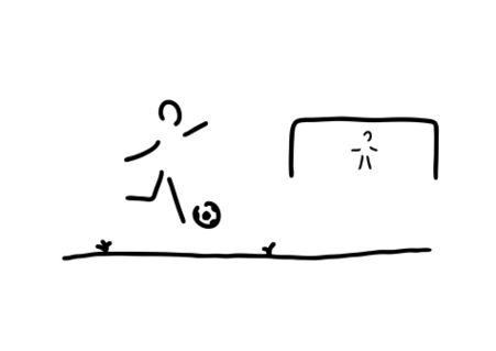 Fussballer-spieler-ball-tor