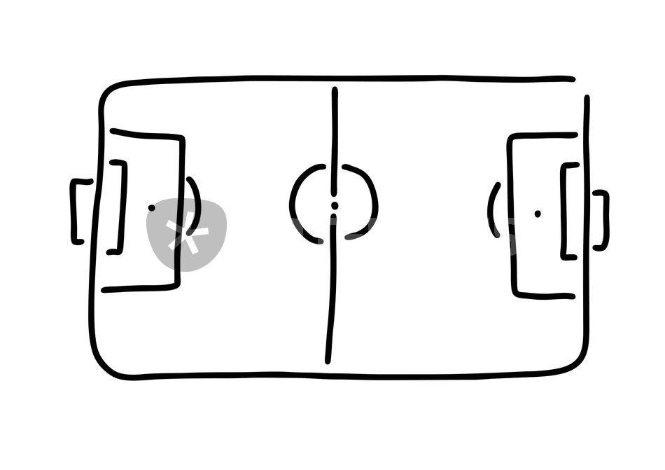 Fussballfeld Von Oben Linien Grafik Illustration Als Poster