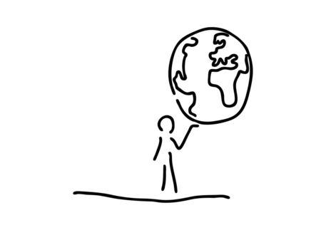 mann traegt welt weltkugel globus grafik illustration als poster und kunstdruck von. Black Bedroom Furniture Sets. Home Design Ideas