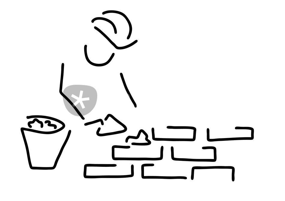 Bauarbeiter clipart schwarz weiß  maurer bauarbeiter hausbau mauer