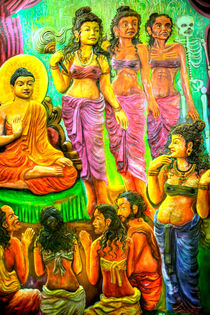 Ein Tempelrelief in einem Buddha-Tempel in Ambalangoda auf der tropischen Insel Sri Lanka von Gina Koch