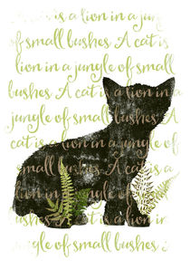 A cat is a lion in a jungle of small bushes von Sybille Sterk