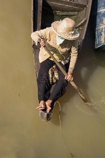 Women with snake on boat - Travel Asia  von oh aniki