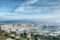 Blick von einem Berg auf die Hafenstadt Tanger by Gina Koch